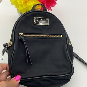 Kate Spade Black Gold Nylon  Backpack